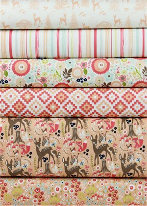 Design by Dani for Riley Blake, Woodland Spring Coral in FAT QUARTERS 6 Total