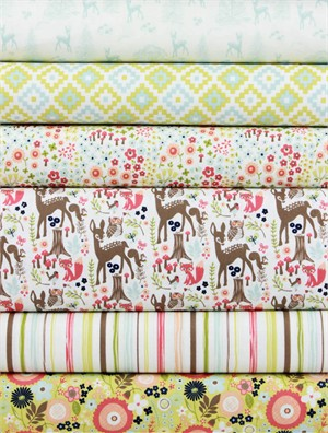 Design by Dani for Riley Blake, Woodland Spring Green in FAT QUARTERS 6 Total