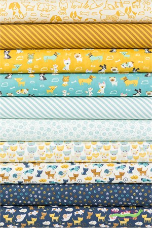 Stacy Iest Hsu for Moda, Woof Woof Meow in FAT QUARTERS 10 Total