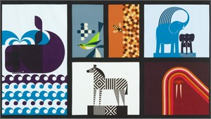 "Greg Mably for Robert Kaufman, Geo Zoo, Zoo Retro (24"" Panel)"